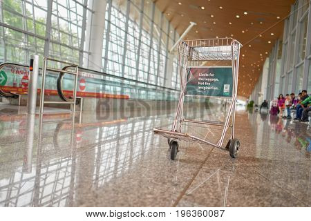 KUALA LUMPUR, MALAYSIA - CIRCA MAY, 2014: trolley at Kuala Lumpur International Airport. KLIA is Malaysia's main international airport and one of the major airports in South East Asia.