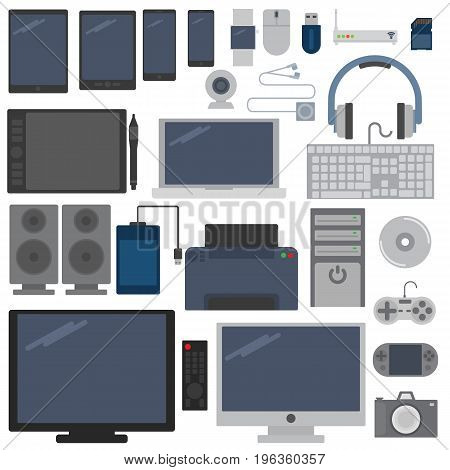 Electronic devices elements collection, flat icons set, Colorful symbols pack contains - Wireless technology electronic devices Vector illustration. Flat style design