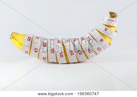 Banana With Measurement Tape Men Penis Size Concept