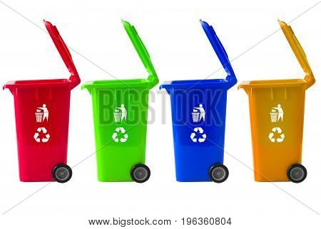 Trash Bin mix color with recycle logo.