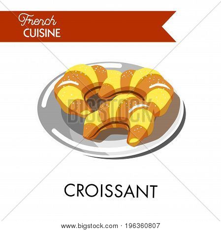 Traditional tasty croissants from french cuisine on plate. Small bakery confectionery product in form of crescent made of puff pastry vector illustration. National breakfast served with coffee.