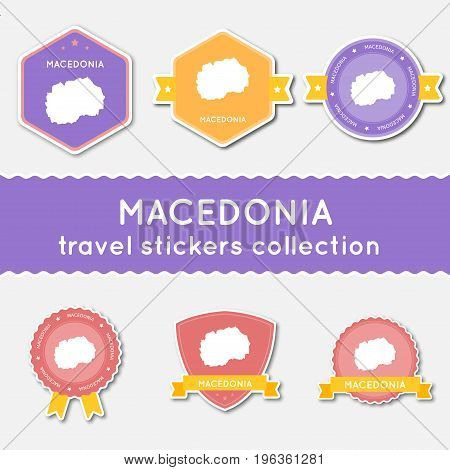 Macedonia, The Former Yugoslav Republic Of Travel Stickers Collection. Big Set Of Stickers With Us S