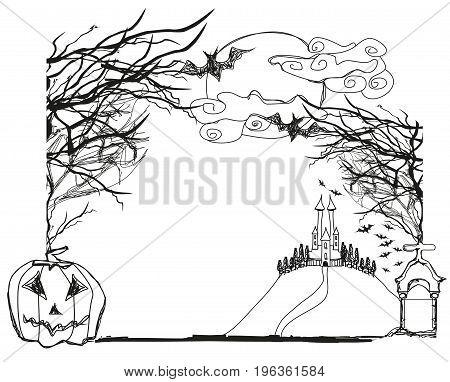 Halloween scary landscape in Doodle illustration frame