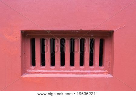 Air Grill Ventilator, Duct On Red Wall