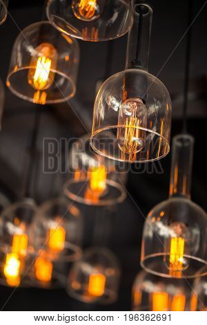 Tungsten Lamp Bulb, Old Vintage Design Style.