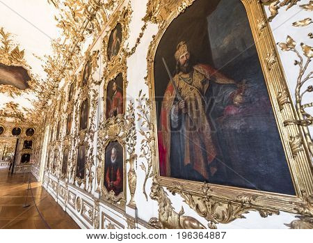 Munich, Germany - October 2017: in the ancestors gallery of Munich Residence