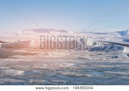 Jakusarlon winter season lagoon Iceland natural landscape background