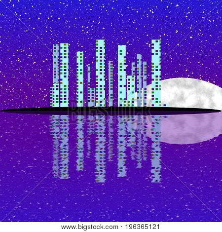 Fullmoon night cityscape illustration with lighting buildings on island skyscrapers shinning in far darkness