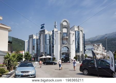 BUDVA MONTENEGRO - JUNE 26 2017: Hotel Blue Star in Budva. Villas and small hotels for tourists - the main buildings in Budva