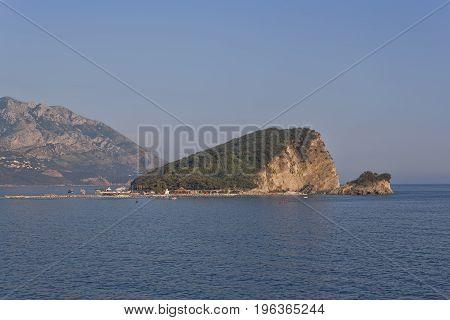 Sveti Nicola Island on the Budva Riviera. Montenegro summer 2017
