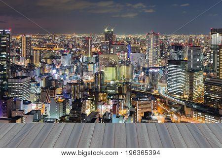 Opening wooden floor Umeda destrict office building downtown night view Japan
