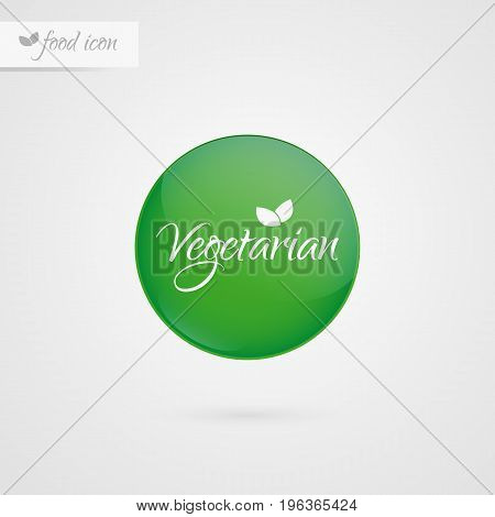 Vegetarian circle label. Food icon. Vector green and white sticker sign isolated. Illustration symbol for product packaging healthy eating lifestyle merchandise advertisement store shop menu logo