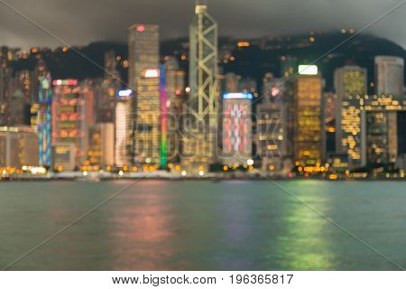 Central business downtown blurred bokeh light Hong Kong city abstract background