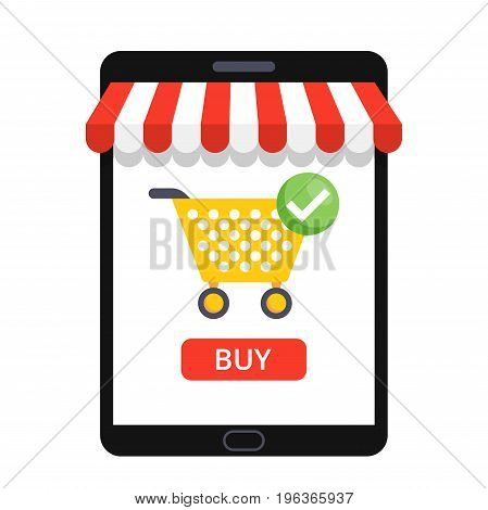 Online shopping concept with open tablet and online shop