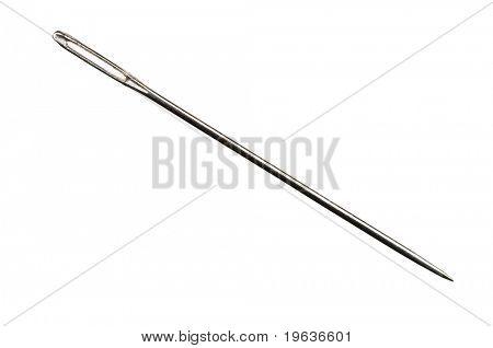 Closeup of isolated needle on white background