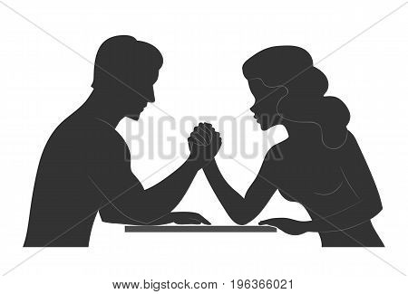 Man and woman. Silhouette of Conflict between couple