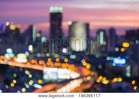 After sunset sky background blurred bokeh city central business downtown abstract background