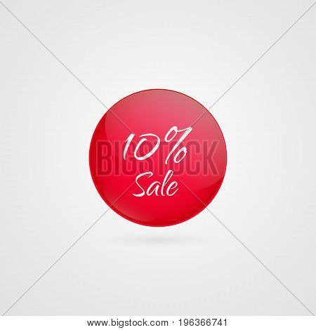 10 percent off vector circle icon. Red and white isolated discount symbol. Illustration sign for sale advertisement marketing project business retail wholesale shopping commerce finance label