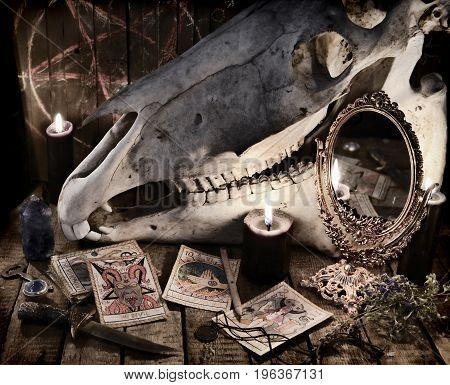 Scary skull with the Tarot cards, magic objects and black candles. Mystic still life with scary occult objects, horror Halloween and black magick concept, fortune telling or divination rite