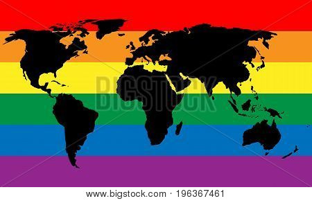 Black world map silhouette on LGBT rainbow pride flag background. Lesbian, gay, bisexual, and transgender stylish design element. Simple flat vector illustration.