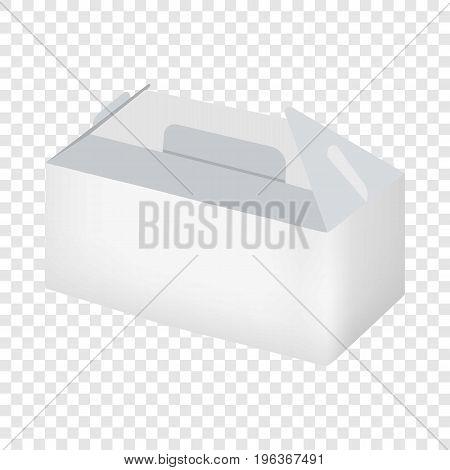 White take out box mockup. Realistic illustration of empty white take out box vector mockup for web