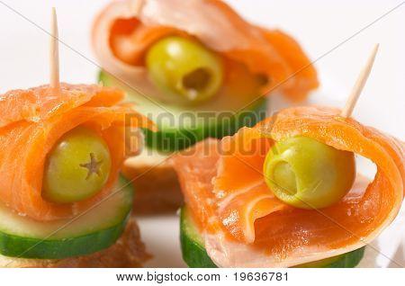 salmon #3 (closeup of three salmon sandwiches on the plate)