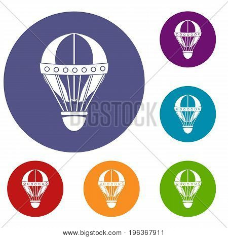 Vintage hot air balloon icons set in flat circle red, blue and green color for web