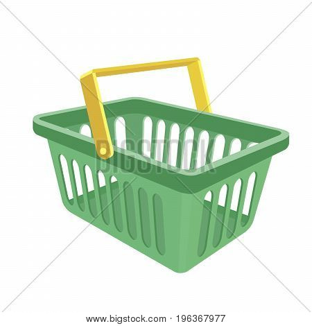 Empty shopping basket on white background. Color vector illustration