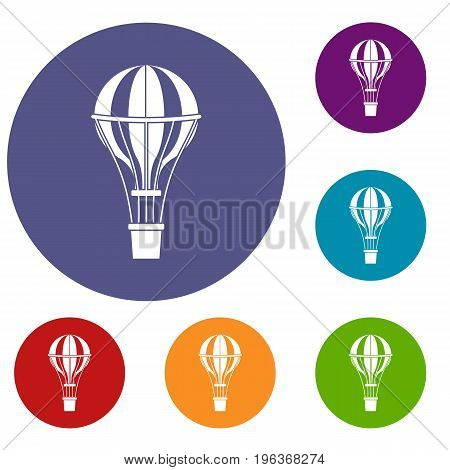 Air balloon journey icons set in flat circle red, blue and green color for web