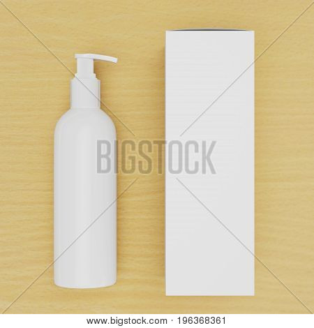 Corporate stationery set mockup. Blank brand ID elements, cosmetic or drug bottle with a cardboard box on a wooden table, 3D rendering. Dispenser for cream, soups, foams and other cosmetics.