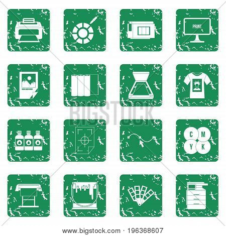Printing icons set in grunge style green isolated vector illustration