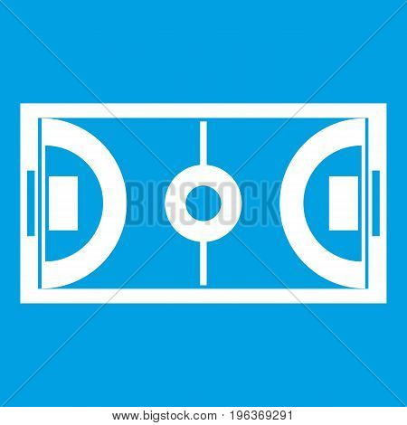 Futsal or indoor soccer field icon white isolated on blue background vector illustration