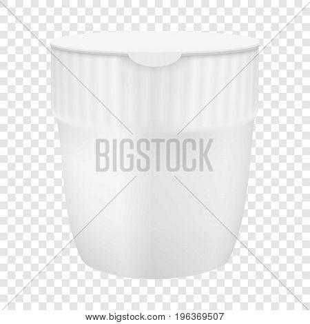 Plastic cup for noodles mockup. Realistic illustration of plastic cup for noodles vector mockup for web