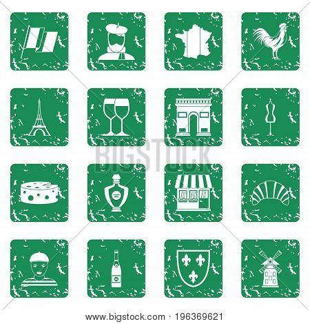 France travel icons set in grunge style green isolated vector illustration
