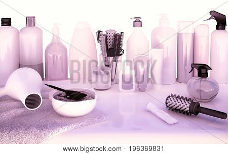Hair cutting shears combs hair dye and professional cosmetics for hair located on white table. 3D illustration