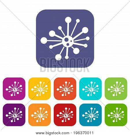 Round bacteria icons set vector illustration in flat style in colors red, blue, green, and other