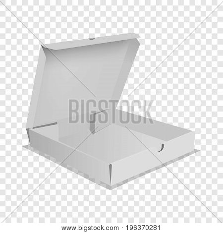 Pizza box icon. Realistic illustration of pizza box vector icon for web