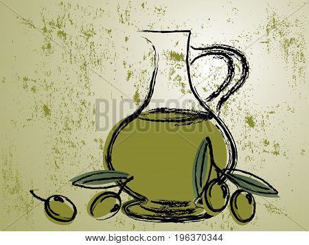 Green grunge background with olive oil bottle