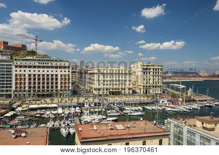 Naples, Italy - may 18, 2017: views of Naples and the marina from the height Castel dell'Ovo, Naples, southern Italy