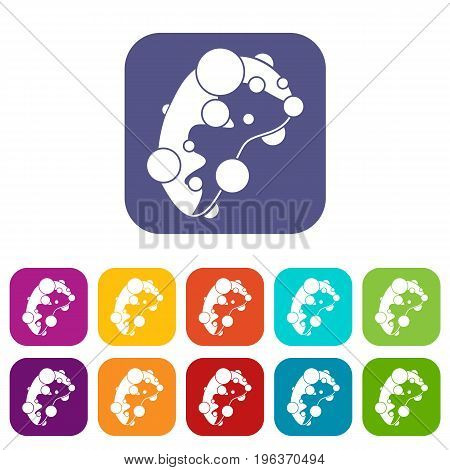 Cell virus icons set vector illustration in flat style in colors red, blue, green, and other