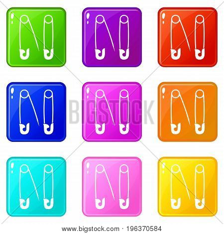 Pins icons of 9 color set isolated vector illustration