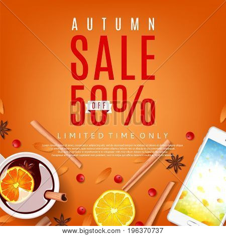 Orange background for autumn sale. Top view on composition with cup of mulled wine, rowan, cinnamon sticks and leafs. Vector illustration.