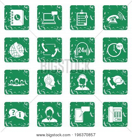 Call center symbols icons set in grunge style green isolated vector illustration