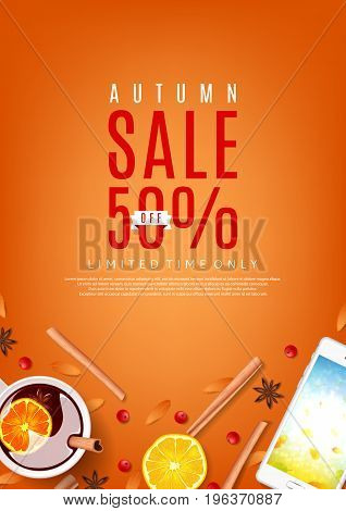 Orange flyer for autumn sale. Top view on composition with cup of mulled wine, rowan, cinnamon sticks and leafs. Vector illustration.