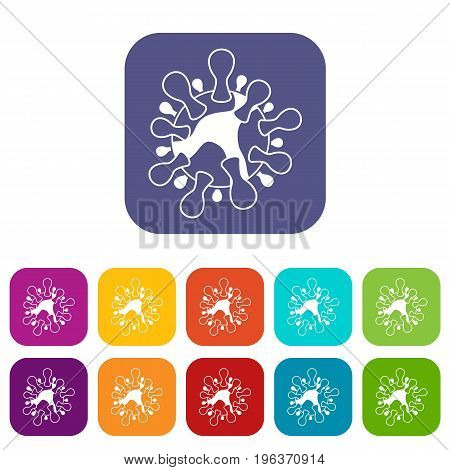 AIDS virus icons set vector illustration in flat style in colors red, blue, green, and other