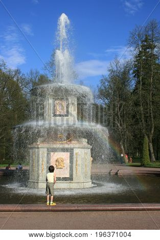 Peterhof, St. Petersburg - May 15, 2010: the Roman Fountains in Peterhof, St. Petersburg
