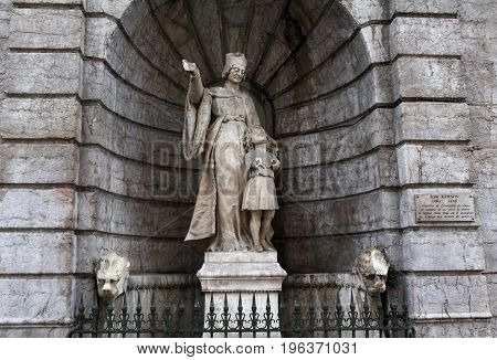 Lyon, France - December 20, 2016: Statue of Jean Gerson (The church of John Gershon) in December 20 in Lyon, France
