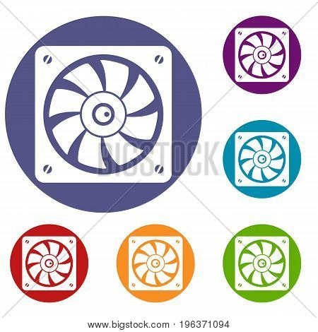 Computer fan icons set in flat circle red, blue and green color for web