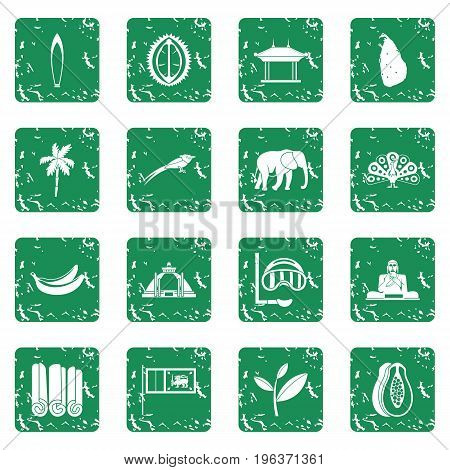 Sri Lanka travel icons set in grunge style green isolated vector illustration