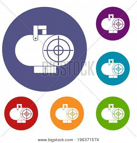 Industrial fan heater icons set in flat circle red, blue and green color for web